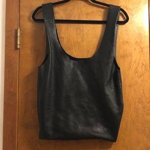 Black leather tote by Baggu